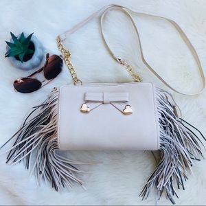 Betsey Johnson Baby Pink Fringe Crossbody Bag